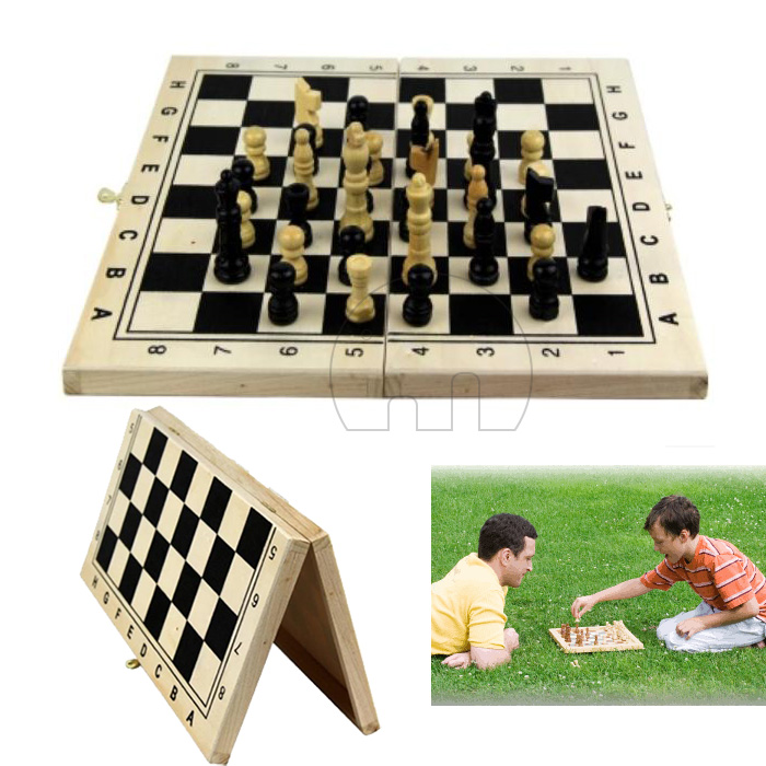Classic Wooden Chess Set Board Game Foldable Portable